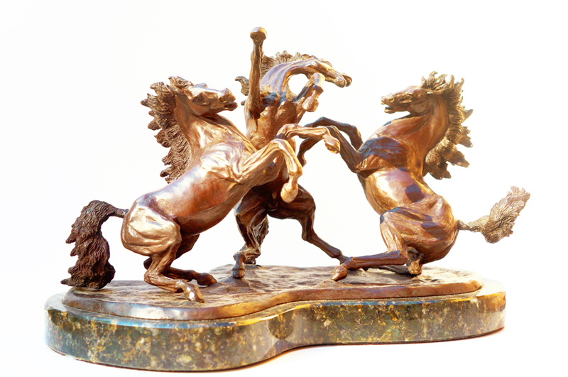 Three Horses - Bronze Sculpture by Sandra Lira